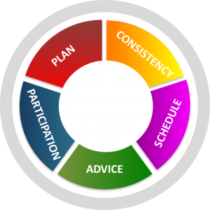 Infographic with five ways of providing support: consistency, schedule, advice, participation, and plan.
